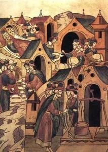 Новгородский торг. Миниатюра 16 века